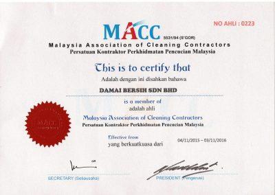 MACC Certificate
